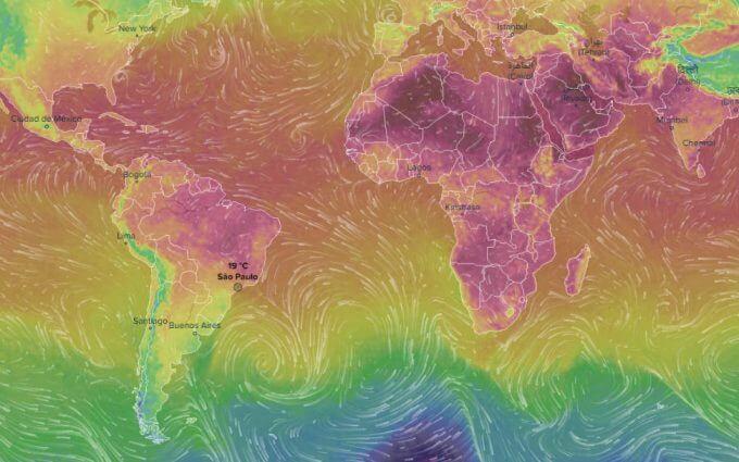 Ventusky mapa interativo de previsão do tempo