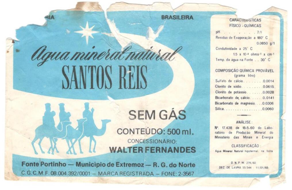 Rótulo Água Mineral  Santos Reis