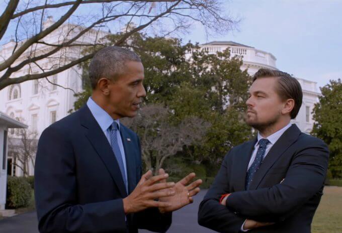 Leonardo Di Caprio e o presidente estadunidense Barack Obama