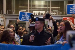 Washington, USA - November 15, 2016: General Jackson, of the Army Corps of Engineers, speaks to supporters of the Standing Rock movement aiming to stop the Dakota Access pipeline.