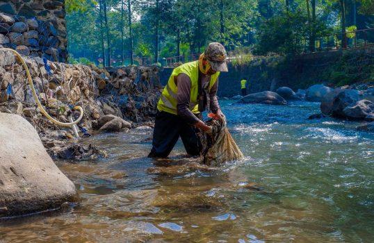 Homem faz limpeza das águas. Crédito: Rinaldi Akbar/Unsplash